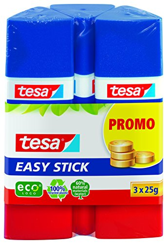 Tesa Easy Stick ecoLogo dreieckiger Klebestift, 3x 25 g, blau