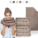sei Design Luxus Frottee Handtuch Set 5 TLG. Aqua Fibro | 5-er Pack 50 x 100 cm, 550 g/m² | 100% Ägäis Baumwolle, Schokolade, 50x100