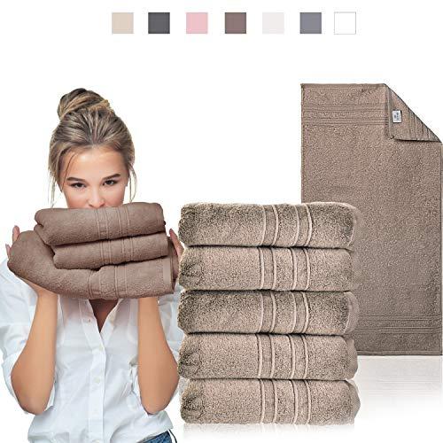 sei Design Luxus Frottee Handtuch Set 5 TLG. Aqua Fibro   5-er Pack 50 x 100 cm, 550 g/m²   100% Ägäis Baumwolle, Schokolade, 50x100