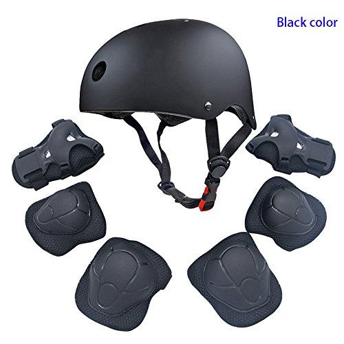 Sportschutzausrüstung-Set für Kinder und Jugendlichen, mit Helm, Ellbogen-, Knie-, Handgelenk-Sicherheitspolster, Schutz für Inlineskates, Fahrrad, BMX-Fahrrad, Skateboard, Hoverboard, Outdoor-Aktivitäten, grau