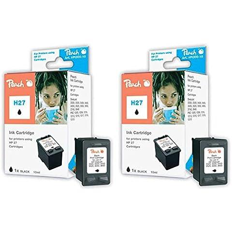 Peach PI300-451 - Cartucho para HP C8727AE (número  27, 2 unidades), color negro