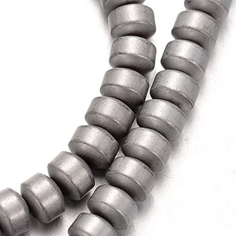 Silber Metallicfarbener Hämatit Perlen Strang 136 Perlen DIY vom Bastel Express