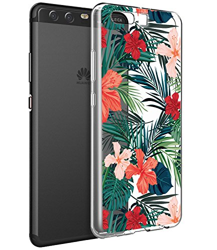 Huawei P10 Fall, Huawei P10 Fall mit Blumen, baisrke Slim stoßfest Transparent Floral Muster Weiche Biegsame TPU Back Cove für Huawei P10 [Purple Pink], Palm Tree Leaves -