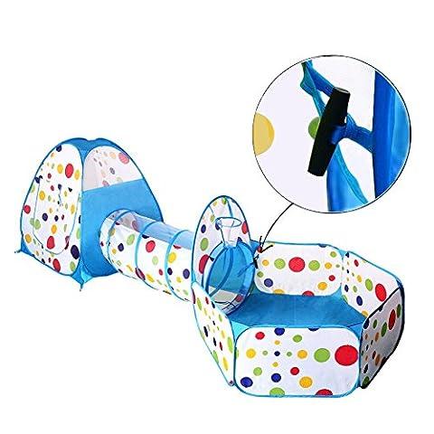 INKERSCOOP Tente Tunnel de Jeu Pop-up et Piscine à Balles pour Enfants - Maison de Jeux en forme de Tente igloo pour L'intérieur et L'extérieur - 3 pièces (Bleue,BALLES NON