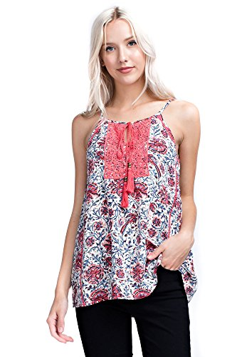 Solitaire Printed Halter Top (Large, Ivory/Coral) -