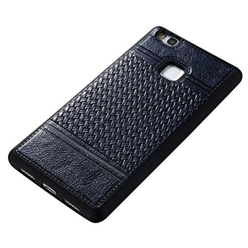 Cover Per Huawei P9 Lite, Asnlove TPU Moda Morbida Custodia Linee Intrecciate Caso Elegante Ultra Sottile Cassa Braided Stile Tessere Case Bumper Per Huawei P9 Lite - Rosa Blu
