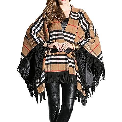 Oulu® Donne Stand collare Griglia vestito sottile cappotto in lana con Belt OW281671