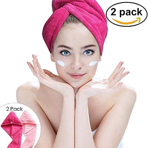 Lot de 2Ultra absorbant en microfibre Cheveux Serviette de séchage–Hairizone rapide Cheveux Secs Wrap Turban avec boucle élastique pour tous les Styles de cheveux (Rose/Roseo)