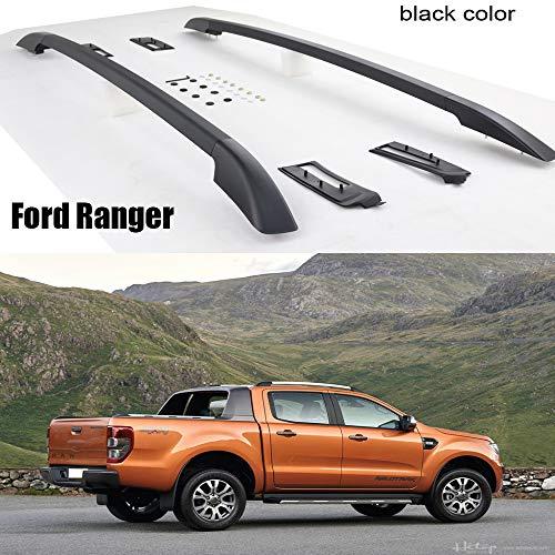 LKJIPL Fit für Ford Ranger OE Gepäck Bars Dachträger Dachträger, Aluminium, Installieren von Schrauben Nicht-Kleber, Qualitätslieferant,Blackcolor