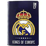 Safta SF-511724-066 - Libreta folio 80 hojas tapas duras, diseño Real Madrid