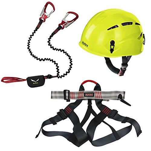 Alpidex Kletterhelm ARGALI + Alpidex Klettergurt TAIPAN + Salewa Klettersteigset Via Ferrata Premium Attac, Farbe:lime green