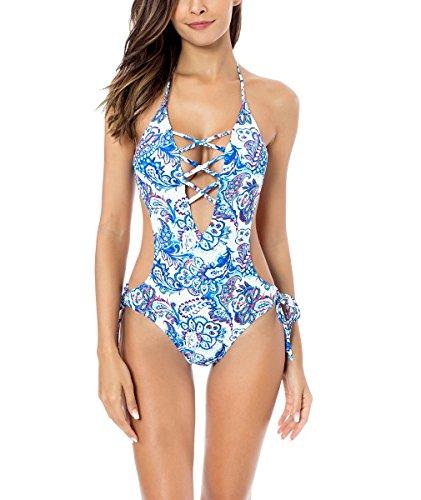 RELLECIGA Damen Bademode Monokini Badeanzug Schnürchen Weiß-Blau L