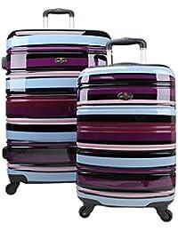 Swiss Case - Juego de 2 maletas (rígidas, 4 ruedas), diseño de rayas