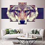 gwgdjk Modulare Canvas HD Stampa Dipinti Living Room Home Decor 5 Pezzi Animali Lupo Immagini Wall Art Poster ModernArtworks-30X40/60/80Cm,Without Frame