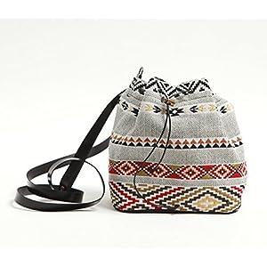 Beuteltashe Kleine Stofftasche mit Stammes-Druck Frauen - schwarze Umhängetasche, grau und rot Tribal –SAQUET