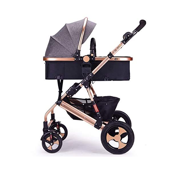 FAFY Kids Pram Travel System 2 In 1 Stroller Buggy Pushchair Reverse Travel System Can Sit Or Lie Baby Stroller,Grey  UNIQUE SHAPE DESIGN Adopt unique safety design concept to make the stroller frame more stable and safe; Reinforced double steel springs absorbing vibrations ensure the safety of your baby's brain and bones FRIENDLY MATERIAL Lycra /Oxford fabric fabrics are durable and dirt-proof, easy to clean; Rust-proof frame is fire retardant, folding easily. solid wheels are wear-resistant, explosion-proof and shock-absorbing. QUICK-ADJUSTING : Adjustable canopy,Adjustable handlebar meet the demands of people in different height, do not need to bend over; One-step braking and release braking 1