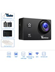 Vemico 4K Action Camera 16MP WIFI 2.0 Inch Screen Waterproof Sports Helmet Cam with Extra 1050 mAh Battery