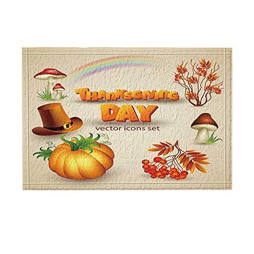 Aliyz Thanksgiving Decor, Kürbis-Pilz-Frucht in der Ernte-Saison-Badteppiche, Rutschfeste Fußmatte Bodeneingänge innen vordere Türmatte, Kinder Badematte, 15.7x23.6in, Bad-Accessoires