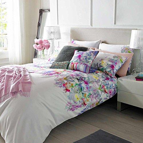 Garten Bettbezug (Ted Baker hängende Gärten Bettbezug 220TC Blumenmuster, weiß, Duvet Cover, Double 200x200cm)