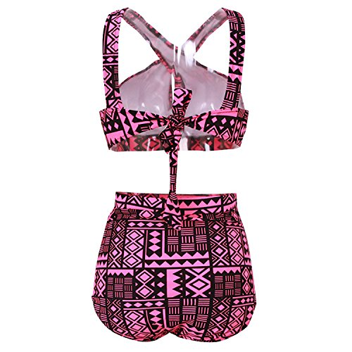 Sasairy Damen Sexy Bikini Set Große Größen Badeanzug Hohe Taille Badebekleidung Dunkelrot