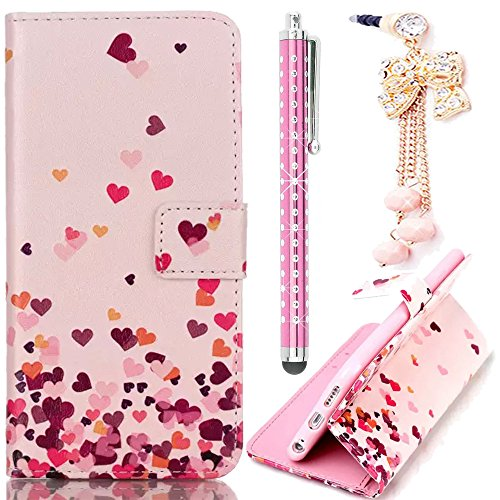 Sunnycase Smart Touch Sensor Quick Window Flip Case Bunte Farbmalerei Serie S View Flip Case PU Leder Wallet Klapphülle Flip Bookstyle Schutz Case PC Rückseite Cover Bumper Hülle Etui for iPhone 6 6S  Love Series 05