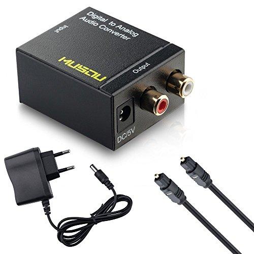 Musou - DAC de Audio, Convertidor Digital-Analógico, Óptica o Coaxial a RCA Adaptador, Toslink y S/PDIF Conversión R / L, Enlaces a Amplificador Externo o Sistema de Sonido, La fidelidad de sonido inteligente, Negro