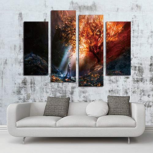 WSNDGWS HD Pintura Decorativa de inyección de Tinta Cuatro Nubes Rojas del Sol en el Paisaje Tibetano Lienzo sin Marco Lienzo Pintura Núcleo Sin Marco B1 20x40cmx2 20x60cmx2