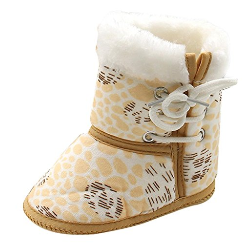 Babyschuhe Longra Baby Stiefel Schuhe weiche Sohle Stiefel Prewalker warme Schuhe (1-12 Monate Baby) Yellow