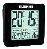 Telefunken FUD de 25(B) DCF Réveil Radio LCD Digital avec thermomètre/Affichage de la température et calendrier AUTOM. Temps Passage (Noir)