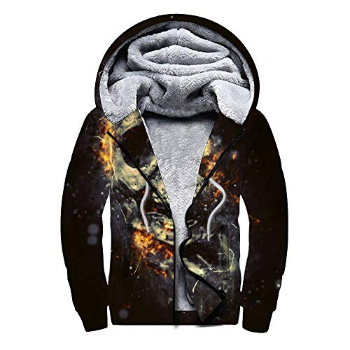 DIY Plus suéter de Terciopelo Plus Sudadera con Cremallera de Terciopelo Unreal Human Skull suéter en casa Fiesta Vestido de Fiesta Regalo para el suéter de un Amigo-BKWE 3, M