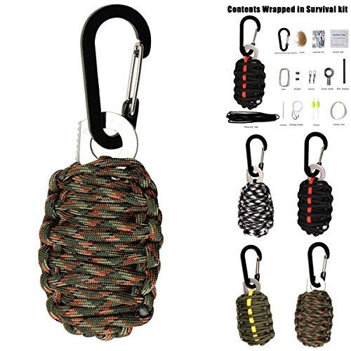 SOONHUA Notfall Paracord Survival Kit mit Karabiner Feuer Starter Überlebens und Outdoor Ausrüstung Emergency Bag und Military Grade Karabiner Snap Hook (Camouflage)