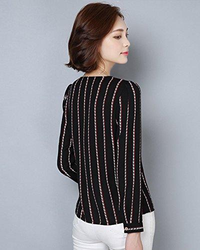 Femme Mode Boutons Longue Rayée Hauts Col V Chiffon Tops Casual Manches Longues Chemise Noir
