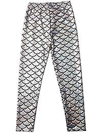 5541e5b7c30 Extras Fashion Ladies Mermaid Fish Scale Legging Women Slim Fit Shiny Disco  Metallic Leggings Plus Size