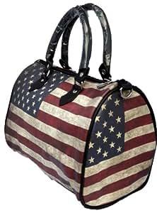 Sac à main Sac polochon Usa New York drapeau americain vieilli