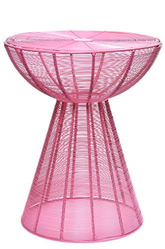 MAADES Retro Design Shabby Chic Hocker Beistelltisch Sitzhocker Metall Rund NEU - Garrocha (Hocker, Pink)