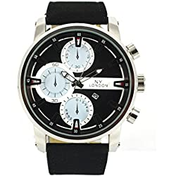 NY London Latest Fashion Watch Luxury Black Belt Strap With Date Function