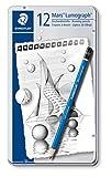 Staedtler 100 G12 S Bleistifte Mars Lumograph (sechskant, 12 Härtegrade, hohe Qualität Made in Germany, 12 unglaublich bruchfeste Premium-Bleistifte im Metalletui)