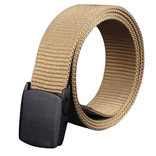 Preisvergleich Produktbild WOCACHI Herren Gürtel Wild Men Leinwand Belt hypoallergen Metall frei Kunststoff Automatik Buckle (Braun)