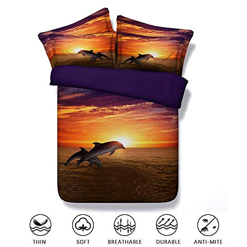 Duvet Cover Set Bedding Set 3 Piece 3d Pinted Dolphin Boys Girls Single Double Super King Size, Effect With Pillow Cases Zipper Quilt Case Soft Non  Kids Childrens -