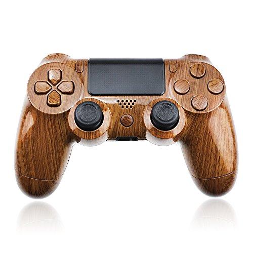 controller-austauschgehuse-braunes-holz-mit-pad-und-tasten-ps4