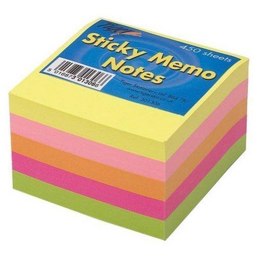 2x Tiger Sticky memo notes neon Block Cube 7,6x 7,6cm 450fogli