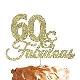 60 & Fabulous Cake Topper - luccichio oro cake topper, 60 ° compleanno