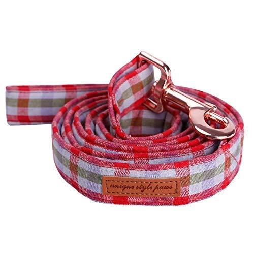 ZXL Kariertes Hundehalsband und Leine, besetzt mit Fliege, Kragen aus weichem Baumwollgewebe, Rotgold-Metallschnalle, handgefertigtes Haustierzubehör (Farbe: Leine, Größe: XS) (Und-kragen-kariertes Hundeleine)