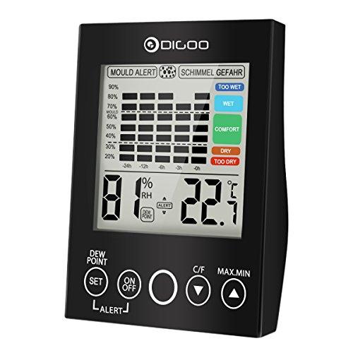 Schwarze Feuchtigkeit (DIGOO DG-TH2048 Thermometer Innen, Wetterstation Temperature Monitor Feuchtigkeit Hygrometer Touchscreen Haus Digital schwarz)