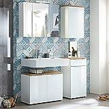 Lomadox Badmöbel Set mit weißen Glasfronten und Navarra Eiche ● 2-türiger Waschbeckenunterschrank mit Siphonausschnitt ● LED-Spiegelschrank mit Schalter & Steckdose ɜ Unterschrank & Hängerschrank