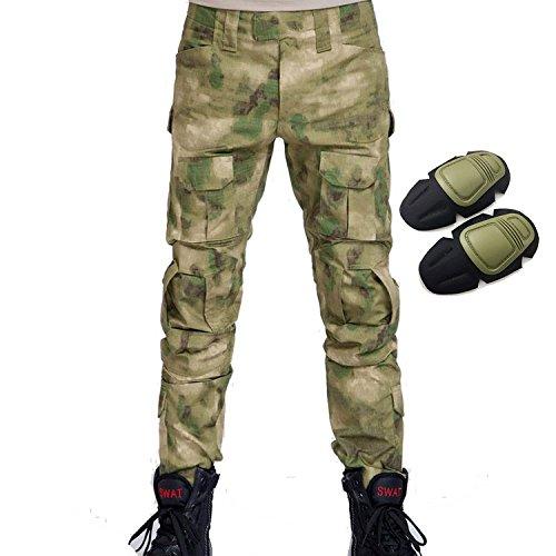 H Welt EU Pantalon militaire pour homme, pantalon avec genouillères pour jeux de stratégie, airsoft, paintball, tir, combat M AT-FG