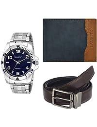 Laurels Analogue Blue Dial Men's Watch , Wallet & Belt Combo - Cp-Polo-504-Tsk-0306-Vt-0209