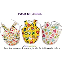 Superbottoms wetproof Apron Bibs - Pack of 3 (Free Size for Babies and Toddlers))