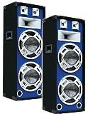 2x1000W Party DJ PA Lautsprecher PAAR Disco Boxen doppel 30cm BASS Blue-LED E-Lektron SPL230