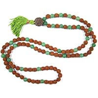 Mogul Interior Fourth Heart Chakra- Green Jade Rudraksha Beads Prayer Mala Yoga Gift 108+1